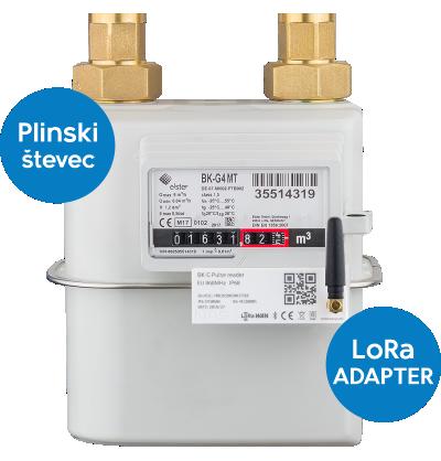 Plinski števec povezan z LoRaWAN adapterjem